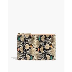 The Medium Leather Pouch Clutch: Snake Embossed